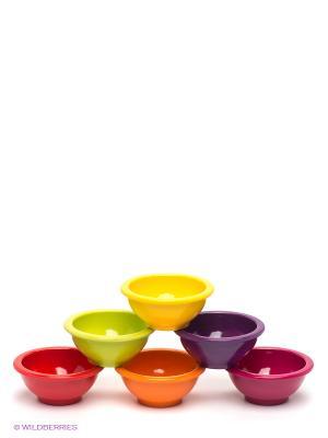 Набор мисок Zak!designs. Цвет: салатовый, оранжевый, фиолетовый, фуксия