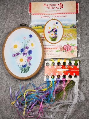 Набор для вышивания лентами Летний букет Матренин Посад. Цвет: белый, голубой