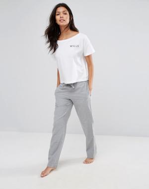 Jack Wills Серые меланжевые фланелевые штаны для дома Frethene. Цвет: серый