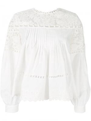 Блузка с вышивкой Sea. Цвет: белый