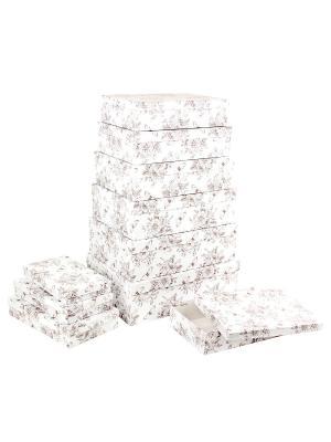 Набор из 10 картонных коробок 23*13*3-36,5*26,5*12см, Мадам Баттерфляй VELD-CO. Цвет: терракотовый, белый