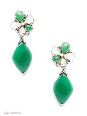 Серьги BALEX. Цвет: зеленый, серый, серебристый