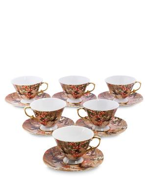 Чайный н-р на 6 перс. Дольче Вита (Pavone) Pavone. Цвет: коричневый, белый