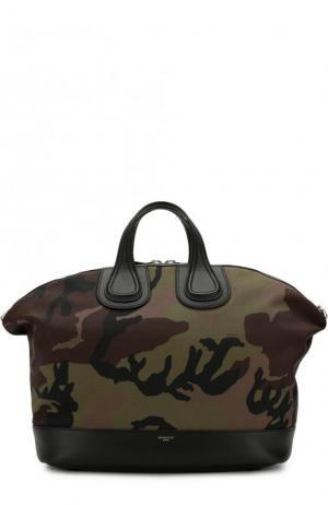 Текстильная дорожная сумка Nightingale с плечевым ремнем Givenchy. Цвет: хаки