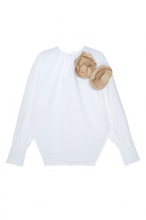 Хлопковая блузка Elegant A.W.A.K.E.. Цвет: белый, песочный