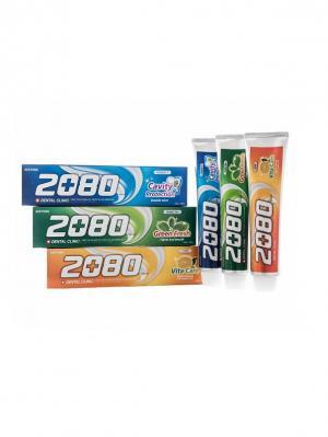 Набор Зубные пасты Dental Clinic 2080, Витаминные 3 штуки 2080. Цвет: зеленый, оранжевый, синий