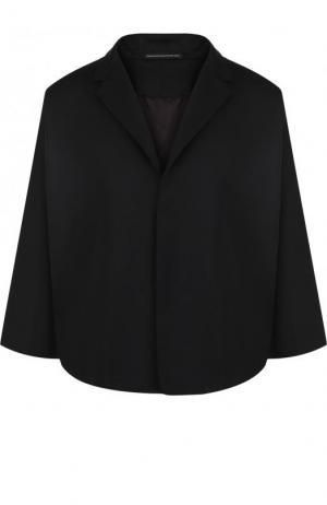 Однотонный жакет из шерсти и укороченным рукавом Yohji Yamamoto. Цвет: черный
