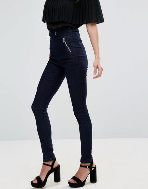 Goldie Зауженные джинсы стретч с завышенной талией Ride Storm. Цвет: синий
