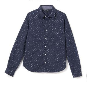 Рубашка однотонная с длинными рукавами IKKS JUNIOR. Цвет: темно-синий
