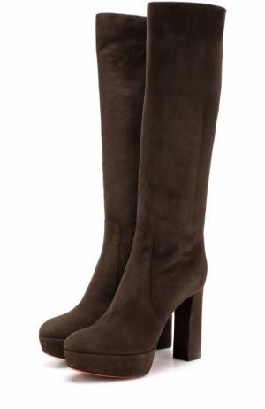Замшевые сапоги на устойчивом каблуке и платформе Santoni. Цвет: коричневый