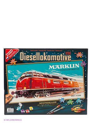 25х50 см, Marklin - Тепловоз 3012-V200, Schipper. Цвет: оранжевый, бирюзовый