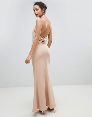 Jarlo Платье макси с открытой спиной и высоким воротом. Цвет: розовый