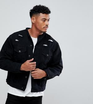 SikSilk Черная джинсовая куртка без воротника с рваной отделкой эксклю. Цвет: черный