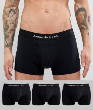 Abercrombie & Fitch Набор из 3 пар черных боксеров‑брифов с логотипом на поясе. Цвет: черный