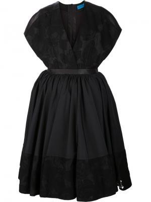 Платье с кожаным поясом и цветочной вышивкой Jonathan Cohen. Цвет: чёрный