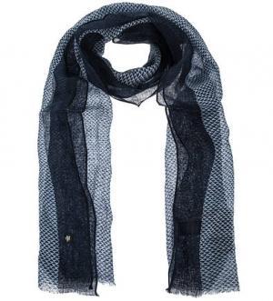 Синий льняной шарф Marc O'Polo. Цвет: синий