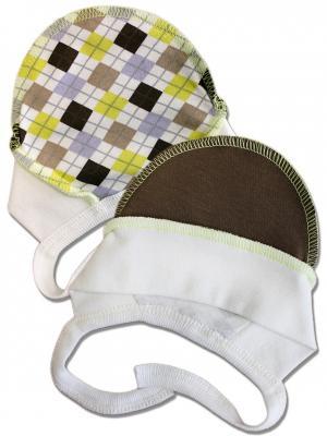 Комплект чепчиков для новорожденного LalaBaby. Цвет: коричневый