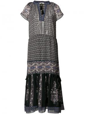Платье миди с V-образным вырезом Ulla Johnson. Цвет: синий
