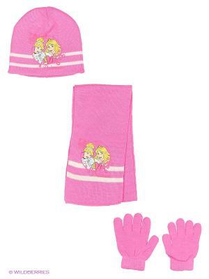 Комплект шапка, шарф, перчатки Sun City. Цвет: розовый