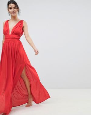 ASOS Пляжное платье макси с вырезом в греческом стиле. Цвет: красный
