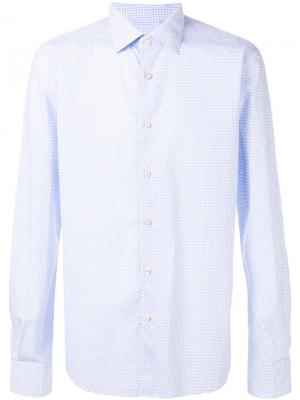 Рубашка с узором из квадратов Xacus. Цвет: синий