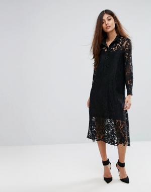 Closet London Кружевное платье-рубашка с длинными рукавами. Цвет: черный