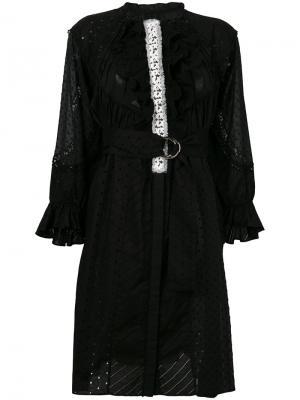 Платье с простроченной отделкой и рюшами Tsumori Chisato. Цвет: чёрный