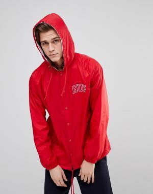 HUF Красная спортивная куртка с капюшоном и вышитым логотипом. Цвет: красный