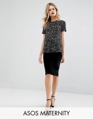 ASOS Maternity Бархатная юбка-карандаш для беременных. Цвет: черный