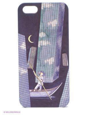 Чехол для IPhone 5 Лодка среди небоскребов Mitya Veselkov. Цвет: фиолетовый, красный, желтый
