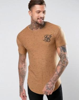 SikSilk Бежевая футболка с асимметричным краем. Цвет: светло-серый