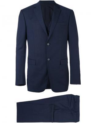 Классический строгий костюм-тройка Z Zegna. Цвет: синий