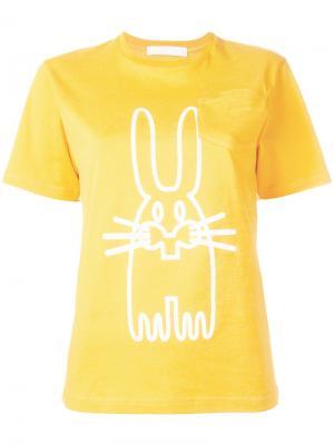 Футболка с изображением зайца Peter Jensen. Цвет: жёлтый и оранжевый