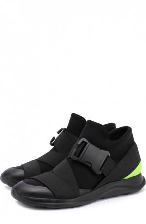 Текстильные кроссовки с отделкой из натуральной кожи Christopher Kane. Цвет: черный