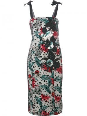 Платье-футляр с лиственным принтом Antonio Marras. Цвет: чёрный