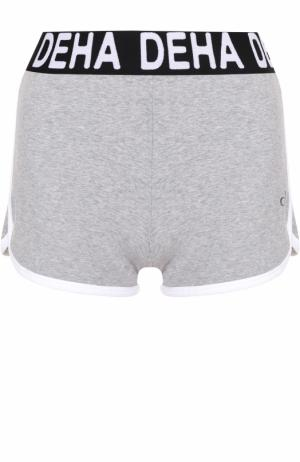 Спортивные мини-шорты с контрастной отделкой Deha. Цвет: серый
