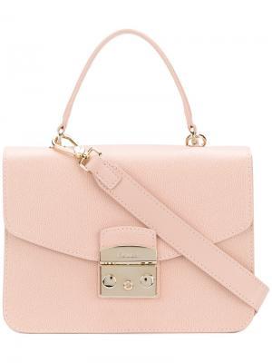 Сумка-тоут с портфельной застежкой Furla. Цвет: розовый и фиолетовый