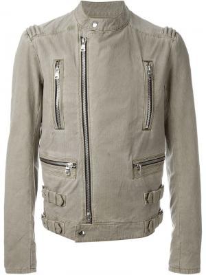 Байкерская куртка Balmain. Цвет: телесный