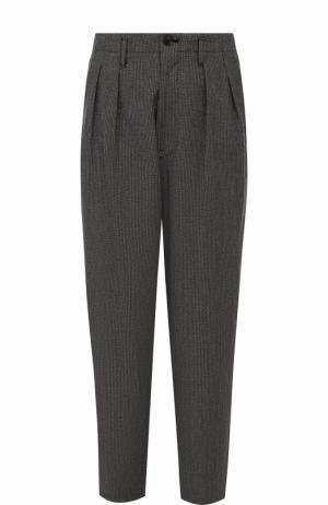 Хлопковые брюки свободного кроя с заниженной линией шага Yohji Yamamoto. Цвет: серый