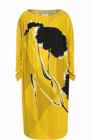 Платье-миди свободного кроя с принтом Dries Van Noten. Цвет: желтый