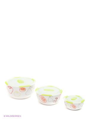 Набор керамических салатников с крышками, в наборе 3 шт. Объемы изделий наборе, л 0,3/0,85/1,7. OURSSON. Цвет: зеленый