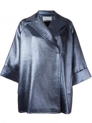 Пальто с эффектом металлик Gianluca Capannolo. Цвет: синий
