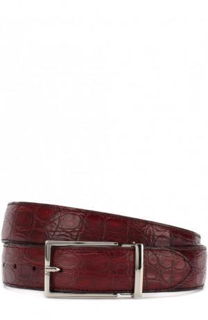 Ремень из кожи каймана с металлической пряжкой Doucals Doucal's. Цвет: бордовый
