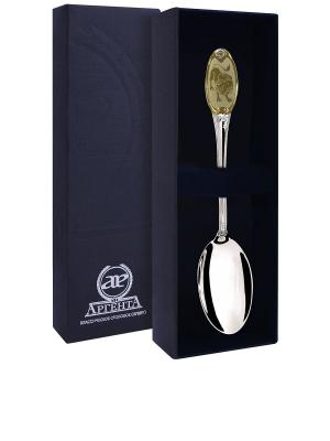 Ложка чайная частично позолоченная с логотипом Лев+футляр АргентА. Цвет: золотистый, серебристый