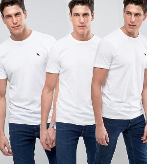Abercrombie & Fitch 3 белые облегающие футболки с круглым вырезом. Цвет: белый