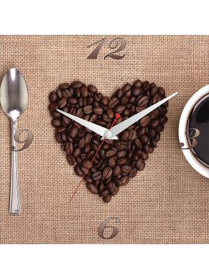 Картина стеновая с часовым механизмом 400*400мм ДСТ. Цвет: коричневый, бежевый