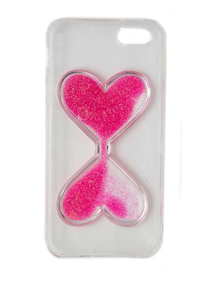 Чехол для iphone 5 прозрачный с розовым сердцем JD.ZARZIS. Цвет: прозрачный, розовый