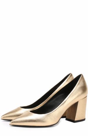 Туфли из металлизированной кожи на устойчивом каблуке Baldan. Цвет: золотой