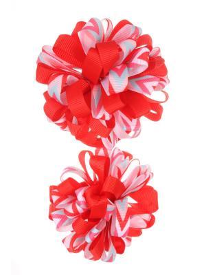 Банты из ленты на резинке с разноцветными полосками в стрелку, красный, набор 2 шт Радужки. Цвет: красный