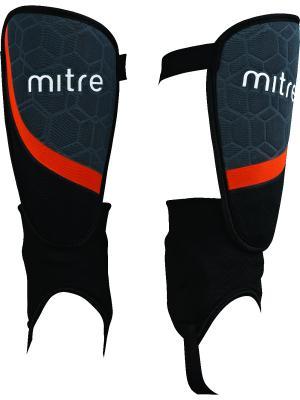 Щитки футбольные MITRE Visao с голеностопом. Цвет: черный, темно-серый, красный